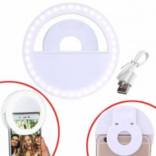 Ring LED lamp for selfie on a smartphone clip, clothespin, with battery